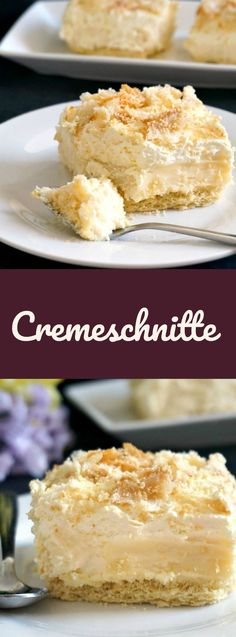 Cremeschnitte recipe, a fabulous dessert with a flaky puff pastry base, topped with a rich vanilla crème pâtissière and silky whipped cream and pastry flakes.