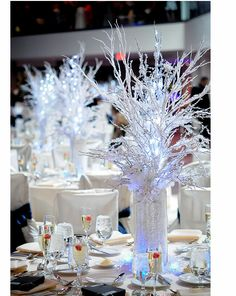 frosty lit branches centerpiece