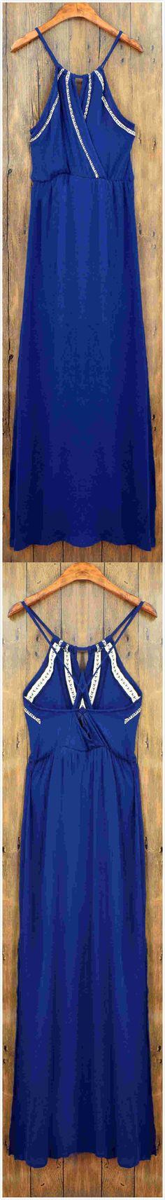 Women's Spaghetti Strap Cross Back Side Slit Maxi Dress.Check more from www.oasap.com .
