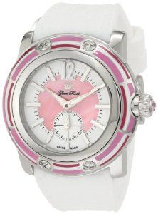 Glam Rock Women's GRD30010DBZ Miami Pink and White Dial White Silicone Watch