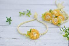 Купить Повязочка на голову для девочки желтая - повязка, повязка на голову, повязка для девочки, повязочка