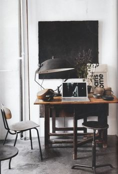 Peaceful designer's industrial work space via vi-kommer-aldrig-att-do.