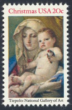 """1982_10_28 $.20 , this traditional Christmas issue features the painting """"Madonna and Child,"""" by Tiepolo (located in the National Gallery of Art)."""