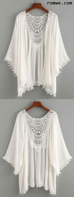 Lace Trimmed Crochet Insert Kimono - White