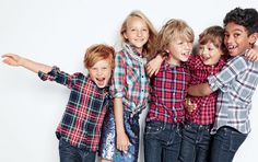 J.Crew boys' flannel shirt in Stewart plaid, flannel shirt in multicolor plaid, Thomas Mason® for crewcuts flannel Ludlow shirt, Secret Wash shirt in mini-buffalo check, jaspé cotton shirt, skinny jean in wrinkle rinse wash and girls' sequin pull-on skirt.