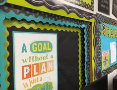 See how Knowledge Bound layered the Turquoise and Lime Green Borders from Chalk It Up! and Painted Palette for this bulletin board. Such vibrant colors paired with chalkboard are a popular classroom theme this year.