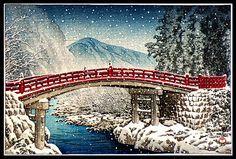 Snow at Kamibashi Bridge, Nikko' 1930 woodblock print by Hasui Kawase. Photo by Plum leaves.