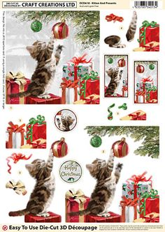 Craft Creations die cut decoupage - Kitten and Presents Christmas Sheets, 3d Christmas, Christmas Cards To Make, Xmas Cards, All Things Christmas, Decoupage Vintage, Decoupage Paper, Christmas Decoupage, 3d Cards