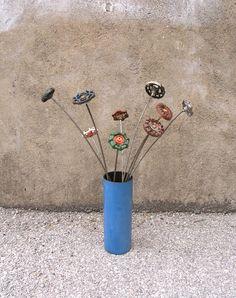 Blue Metal Vase, Industrial Decor, Colorful Vessel, table centerpiece vase. $35.00, via Etsy.