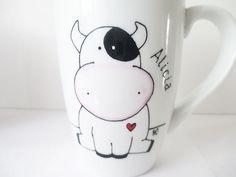 Mano pintada café té taza de la porcelana con la por YunikDesign