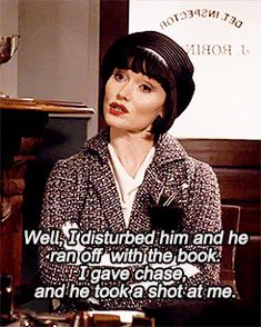 Phryne: I disturned him and he ran off with the book. I gave chase nad he took a shot at me.
