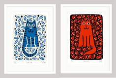 blue cat, red cat. LoColeCatPrints on @moderncat