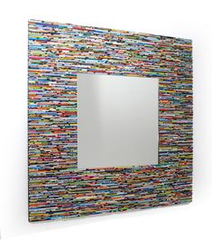 LARGE colorful square mirror wall art made from recycled