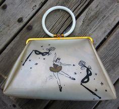 1950s Ballerina Vinyl Plastic Handbag with by Artsefrtse on Etsy, $52.00