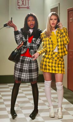 Naomie Harris and Alice Eve recreate Thelma & Louise and Clueless in stunning ph. - Naomie Harris and Alice Eve recreate Thelma & Louise and Clueless in stunning photo shoot – - Clueless Halloween Costume, Cute Group Halloween Costumes, Cute Costumes, Couple Halloween, Halloween 2018, Cher Clueless Costume, 90s Costume, Blonde Halloween Costumes, Halloween College