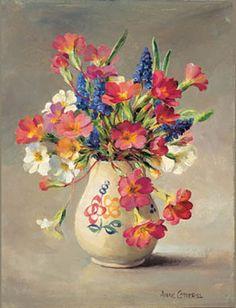 Ann Cotterill OIL Primulas and Grape Hyacinths