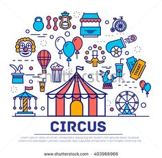 Premium quality circus outline icons infographic set. Festival linear symbol pack. Carnival show template of thin line, logo, symbols, pictogram and flat illustrations vector concept - stock vector