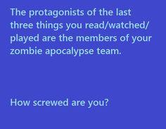 I'd have Bilbo Baggins, Percy Jackson, and Katniss Everdeen. I think I'd do pretty well! Dean Winchester Supernatural, Crowley, Kurt Wallander, Silvester Stallone, The Mother Of Dragons, Eddard Stark, Jace Lightwood, Fulmetal Alchemist, Ken Tokyo Ghoul