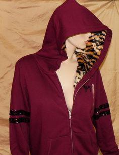 Victoria's Secret PINK Faux Fur Varsity Hoodie Fall 2014 L Animal Print Tiger #VictoriasSecret #Hoodie