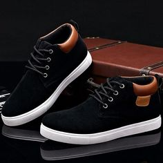 Men Casual Cotton Lace-up Ankle Flats - Shoes Mens Sneakers Mode, Sneakers Fashion, Dc Shoes Girls, Dc Shoes Men, Man Shoes, Mens Business Shoes, Best Shoes For Men, Mens Boots Fashion, Casual Shoes