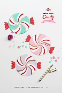 Invitaciones de caramelos giratorias >> Paper Wheel Candy Greetings