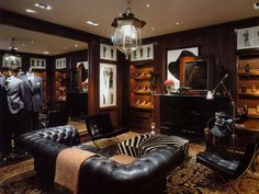 Now You're In New York: the clubby Ralph Lauren boutique at Bergdorf's. Interior Designer: Thierry W Despont.