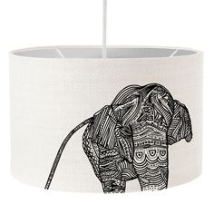 Elephant drum lampshade, silver inside lining, screen printed, handmade. 100% cotton #elephant #bymarie #screenprint #lampshade #drum #shade #silver