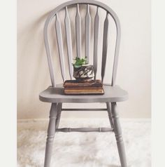 Windsor chair in gray limoge farmhouse paint by ReFound Vintage