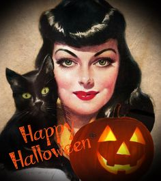 vintage halloween pin-up girl - Yahoo Image Search Results Halloween Pin Up, Retro Halloween, Halloween Prints, Halloween Items, Halloween Pictures, Halloween Horror, Happy Halloween, Halloween Decorations, Vintage Witch