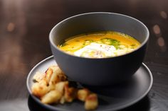Mick & Jodie-Anne's Thai Pumpkin Soup with Fried Quail Egg Thai Pumpkin Soup, Thai Curry Paste, My Kitchen Rules, Quail Eggs, Egg And I, Latest Recipe, Pork Belly, Soup Recipes, Veggie Recipes