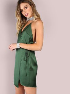 Online shopping for Low Back Satin Wrap Dress EMERALD from a great selection of women's fashion clothing & more at MakeMeChic.COM.