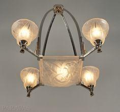 DEGUÉ : French 1930 art deco chandelier. paravas - ebay