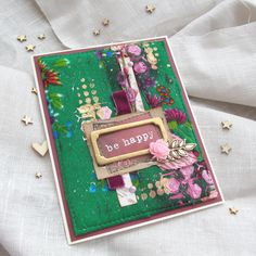 Fabric card, stencils, texture paste, paint, embossing