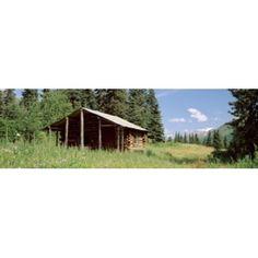 Log Cabin In A Field Kenai Peninsula Alaska USA Canvas Art - Panoramic Images (36 x 12)