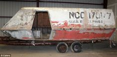 The shuttlecraft has been reduced to a rusty shell since it was used in the 1960s Star Trek television series