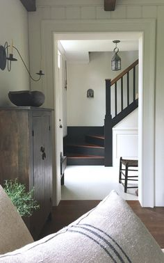 Love this simple farmhouse style old house entryway & stairway farmhouse decor, farmhouse stairs Painted Stairs, House Design, New Homes, Interior Design, House Interior, House, Home, Interior, Home Decor