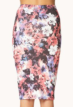 918bd09d17 Watercolor Floral Bodycon Skirt from Forever 21. Idk why but I love this  skirt. I can see this paired with a white cropped top,a denim motto style  jacket ...