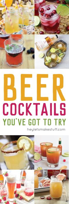 Beer Cocktails You've Got To Try This beer cocktail round up will help you take your beer to a whole new level. Mix up these delicious (and boozy! Brunch Drinks, Cocktails, Party Drinks, Cocktail Drinks, Fun Drinks, Yummy Drinks, Beer Cocktail Recipes, Beer Recipes, Alcohol Recipes
