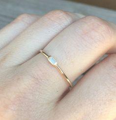 14K Tiny Baguette Diamond Ring Solid Gold Ring White Gold