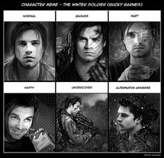 petite-madame: Character Meme - Bucky Barnes Got bored this weekend (and I caught the flu -__-) so I did my own character Meme featuring Bucky. Next: Dean Winchester. (Photoshop CS6 - Paint Tool SAI)