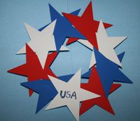 4th of July Wreath made from red, white and blue construction paper stars, glue and marker mounted on a paper plate rim.