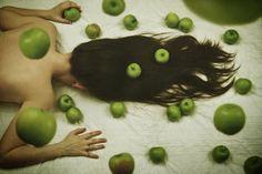 art, fine art, conceptual, surreal, photography, woman, girl, apples, green, floating, levitation, skin, eden, hair, self, portrait, ehp, elle hanley photography, ellehanley.com