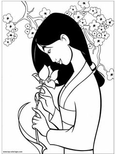 Interesting Princess Mulan Colouring Pages - coloringpage Disney Princess Coloring Pages, Disney Princess Colors, Disney Colors, Cute Coloring Pages, Coloring Books, Flower Art Drawing, Disney Paintings, Mermaid Coloring, Outline Drawings