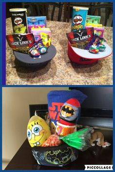 Big boy Easter basket- the Star Wars t shirt is wrapped around a tub of cotton candy