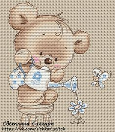 cross stitch little teddy - so cute! love it! - chart free pdf here vk.com/sichkar_stitch
