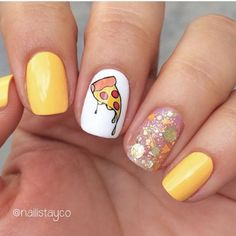 25 Pizza Nails That Look Good Enough To Eat at CherryCh. - 25 Pizza Nails That Look Good Enough To Eat at CherryCherryBeaut… - Summer Acrylic Nails, Best Acrylic Nails, Summer Nails, Gel Nail Designs, Cute Nail Designs, Nails Design, Art Designs, Stylish Nails, Trendy Nails