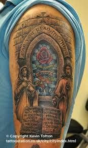 What does stained glass tattoo mean? We have stained glass tattoo ideas, designs, symbolism and we explain the meaning behind the tattoo. Stained Glass Tattoo, Fresh Tattoo, Memorial Tattoos, Skin Art, Stained Glass Windows, Arm Tattoo, Tattoo Designs, Symbols, Memories