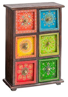 26 Ideas hand painted furniture indian drawers for 2019 Painting Wooden Furniture, Funky Painted Furniture, Bohemian Furniture, Indian Furniture, Painted Chairs, Recycled Furniture, Bohemian Decor, Painted Tables, Painted Wooden Boxes