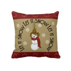 Cute Folk Art Cowboy Snowman Christmas Pillows