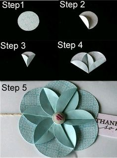 Use a punch to punch out circles & then fold into an origami flower! Use a punch to punch out circles & then fold into an origami flower! Handmade Flowers, Diy Flowers, Fabric Flowers, Flower Ideas, Flower Diy, Quilling Flowers, Simple Flowers, Paper Quilling, Real Flowers